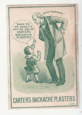 Carter's Backache Plasters Cooke & Foote Druggist Rockford IL Vict Card c1880s