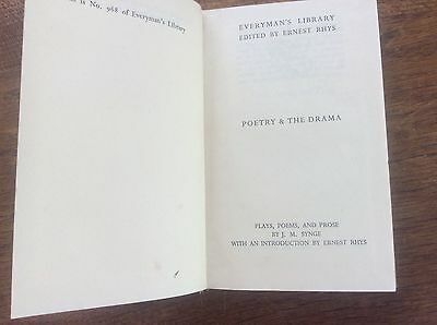 Poetry & The Drama from Everymans Library by JM Synge Plays Poems & Prose