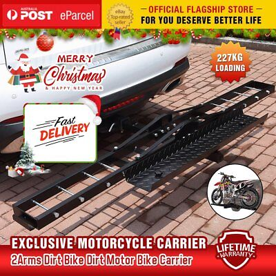 Steel Motorcycle Motorbike Carrier Rack 2″ Towbar Hitch Mount with Ramp AUS