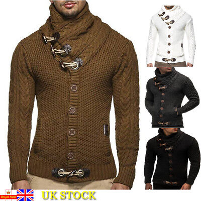 Fashion Mens Chunky Cable Knit Sweater Jumper Turtle High Neck Pullover Tops New