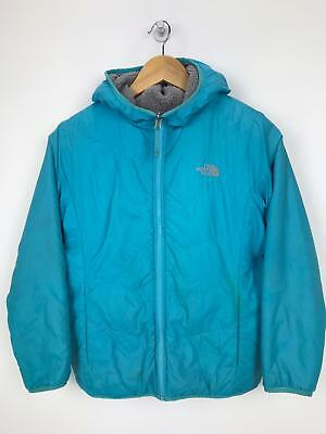 THE NORTH FACE Girls Jacket Coat | REVERSIBLE Hooded Sherpa  | Large 14-16 Blue