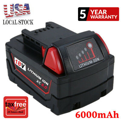 For Milwaukee 18V 6.0AH M18 M18B4 48-11-1828 Lithium Ion XC6.0 Extend Battery