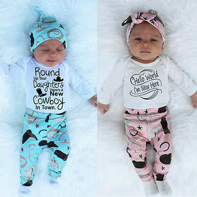 Newborn Baby Boy Girl Long Sleeve Tops Romper+Pants+Hat 3PCS Outfits Clothes CH