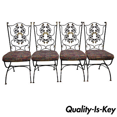 4 Vtg Wrought Iron Black & Gold Scrolling Leaf Garden Patio Dining Chairs Wodard