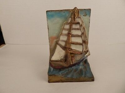 vintage Cast Iron DOOR STOP or Bookend CHINESE Japanese SHIP polychrome