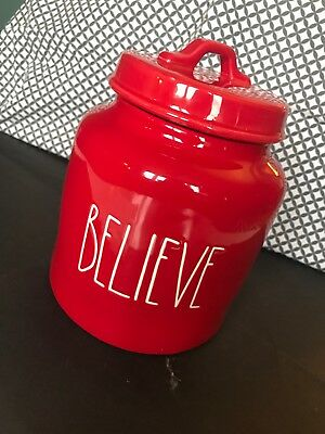 New Rae Dunn By Magenta LL BELIEVE Christmas Red Canister Jar 2018 Free Ship