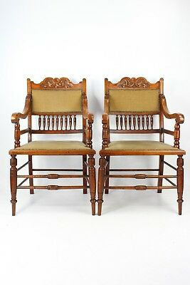 Pair Edwardian Arts & Crafts Walnut Armchairs -Antique Dining Carver Desk Chairs
