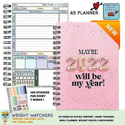Food Diary, Planner Book 2019 Log Stickers Sw Friendly Ww Calorie Dieting V446