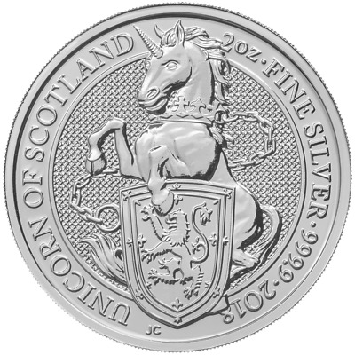 2018 U.K. £5 Silver Queen's Beasts Unicorn of Scotland 2oz .9999 BU