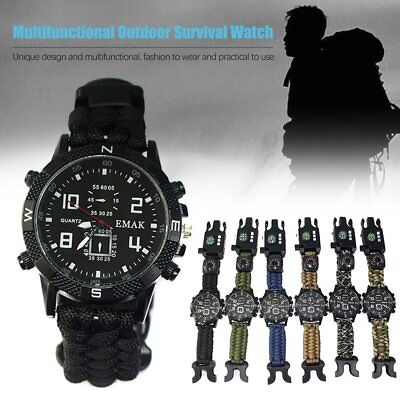 9 in 1 Survival Paracord Bracelet Watch Compass thermometer LED Whistle Light OQ
