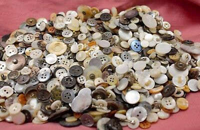 Vtg Mother of Pearl MOP Buttons Variety of Sizes & Colors ONE POUND