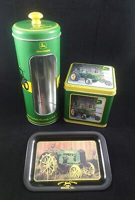 Lot of 3 John Deere Tin Containers and Tray Licensed Product Tractor Model C