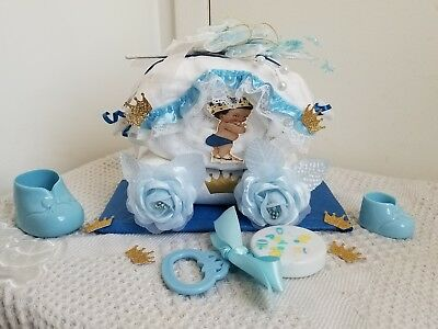 Blue & Gold Little Prince Carriage Mini Diaper Cake Baby Shower Gift - Boy