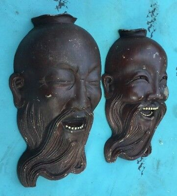 """Antique Vintage Syroco Comedy Tragedy Style Asian Wall Masks 7"""""""