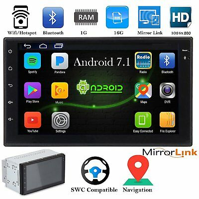 """7"""" Double 2 DIN Android 7.1 WIFI 16G Car Radio Stereo MP5 Player GPS Bluetooth"""