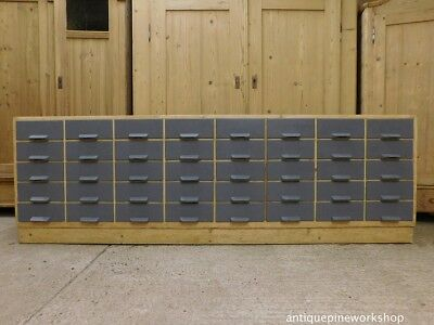 Vintage pine School Haberdashery Bank of drawers Shop counter Apothecary rustic