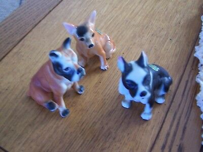 Lot Of 3 Vintage  Bone China Boston Terrier, Chihuahua, Boxer Dog Figurines 3""