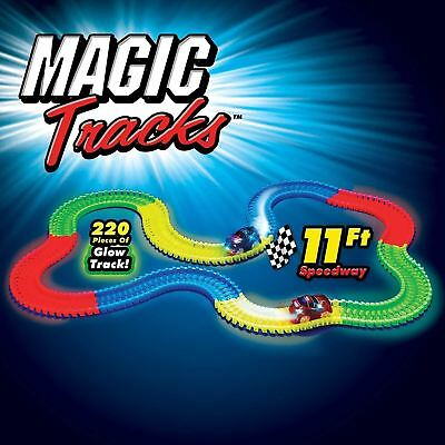 Magic Tracks Glow In The Dark Led Light Up Race Car Bend Flex Track With Car