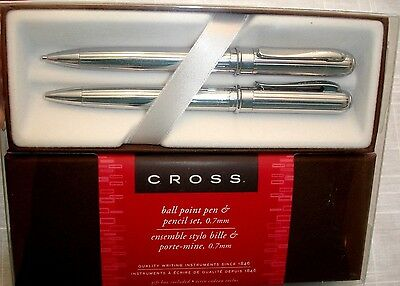 CROSS ATHENS CHROME Ball Point Pen & Pencil Set 0.7mm New in Box