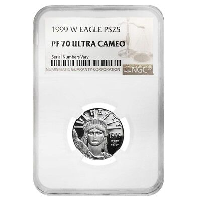 1999 W 1/4 oz $25 Platinum American Eagle Proof Coin NGC PF 70 UCAM