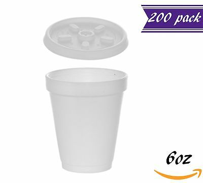 (200 Sets) 6 oz White Foam Cups with White Vented Lids, Disposable Foam Cups