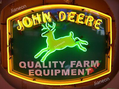 RARE New JOHN DEERE QUALITY FARM EQUIPMENT Tractor Dealer REAL NEON SIGN LIGHT