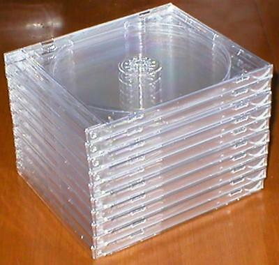 Lot of 10 Standard Sized, Hard-Plastic, Empty, Clear CD Jewel Cases - Brand New