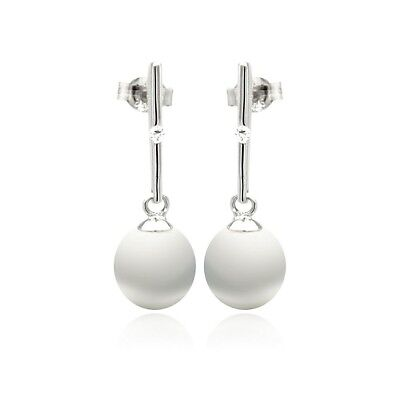 NWT Sterling Silver 925 Rhodium Plated Fresh Water Pearl Dangling Stud Earrings