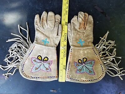 Pair Of Plains Or Plateau Native American Indian Leather Gauntlet Gloves