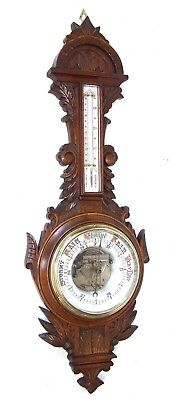 Antique Carved Oak Aneroid Banjo Barometer & Thermometer: RARE OPEN CONVEX DIAL