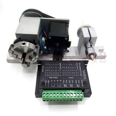 A-axis 4th-axis CNC Router Rotational Rotary Axis 50mm 3 Jaw Chuck +Tailstock