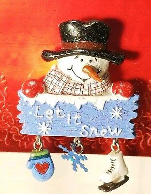 Happy Holidays ~ Let It Snow ~ Snowman Christmas Brooch Pin