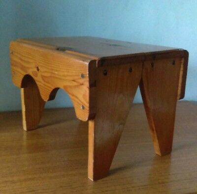Vintage Wooden Milking Stool Step Plant Stand