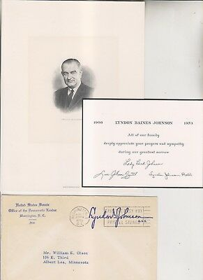 Lyndon B Johnson - Engraving - 1973 Remembrance Card - 1955 Senate Cover