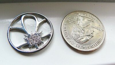 Origami Owl Large Silver Flower Crystal Window Plate New