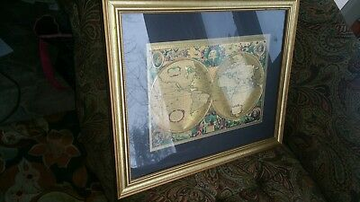 Vintage Framed Gold Foil Wall Map of Old world 22.75 x 18.5