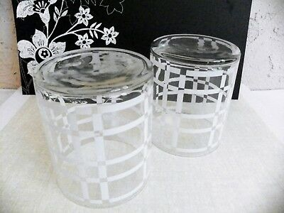 Pair Vntg Georges Briard White/Clear Tumbler Whiskey Low Ball Cocktail Glasses