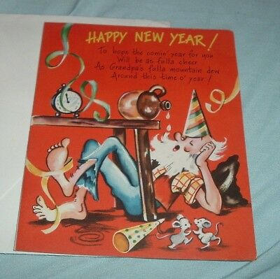 vintage american greeting happy new year card grandpa cousin effie unused