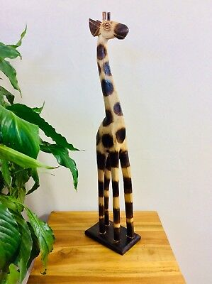 Wooden Giraffe Ornanment 60Cm - Hand Carved And Hand Painted