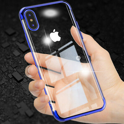 Ultra-Thin Plating Silicone Soft Clear Slim Case For iPhone X 7 8 Plus XR XS Max