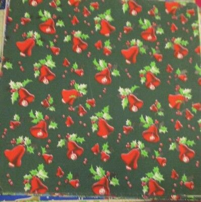 VTG UNUSED CHRISTMAS GIFT WRAPPING Green PAPER MCM Bells Holly Handprinted