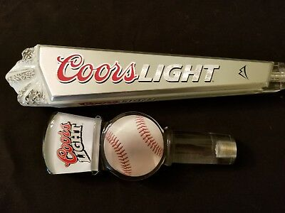 LOT of TWO Coors Light Beer tap handle's MLB Baseball shape and Rocky Mountains
