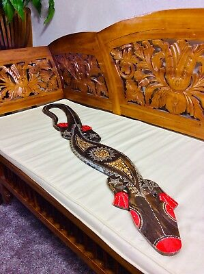 Wooden Gecko 100Cm - Hand Carved And Hand Painted