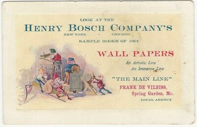 1901 Henry Bosch Wallpaper Wall Paper Hangings Sample Books Promotional Card
