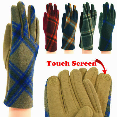 Lot For Womens Tartan Check Plaid Soft Warm Winter Wool Gloves W/Touch Screen