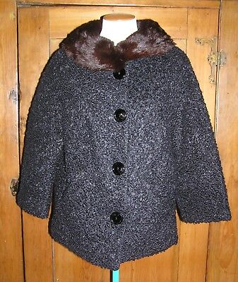 "Vintage Black Persian Curly Lamb Mink Collar Jacket Coat - ""Styled by Winter"""