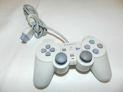 OEM Light Gray Dual Shock Sony Playstation 1 PS1 Controller SCPH-110 Rare Works