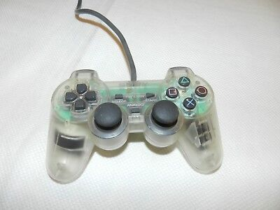 OEM Clear Dual Shock Sony Playstation 1 PS1 Controller SCPH-1200 Rare Works