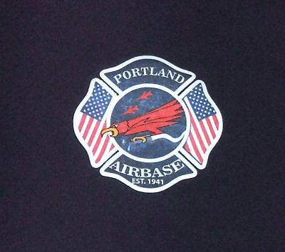 PORTLAND FIRE + Rescue AIRBASE Oregon ANG navy blue T shirt
