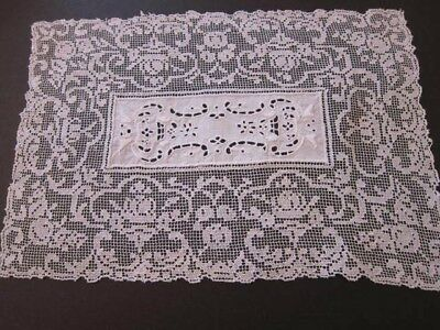 Antique White Italian Filet Sicilain Lace w/Embroidery &  Placemats (8) & Runner